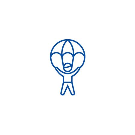 Risikomanagement, Mann mit Fallschirm-Linien-Konzept-Symbol. Risikomanagement, Mann mit flachem Vektor-Website-Zeichen des Fallschirms, Umrisssymbol, Illustration.