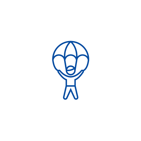 Risk management,man with parachute line concept icon. Risk management,man with parachute flat  vector website sign, outline symbol, illustration.  イラスト・ベクター素材