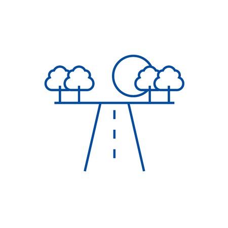 Route en icône de concept de ligne horizontale. Route en signe de site Web vecteur plat horizont, symbole du contour, illustration.