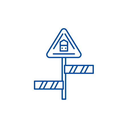Road sign line concept icon. Road sign flat  vector website sign, outline symbol, illustration. Illustration