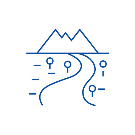 Road to mountains line concept icon. Road to mountains flat  vector website sign, outline symbol, illustration. 向量圖像