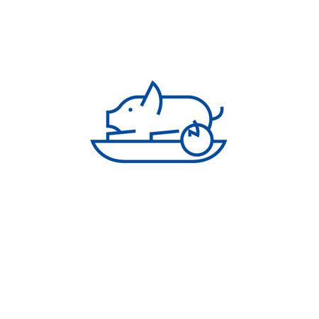 Roasted pig line concept icon. Roasted pig flat  vector website sign, outline symbol, illustration. 向量圖像