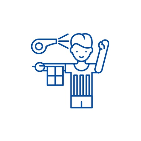 Referee line concept icon. Referee flat  vector website sign, outline symbol, illustration.