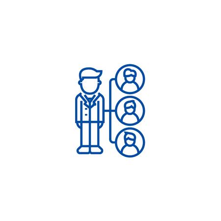 Referrals,affilate marketing line concept icon. Referrals,affilate marketing flat  vector website sign, outline symbol, illustration. Standard-Bild - 120074491