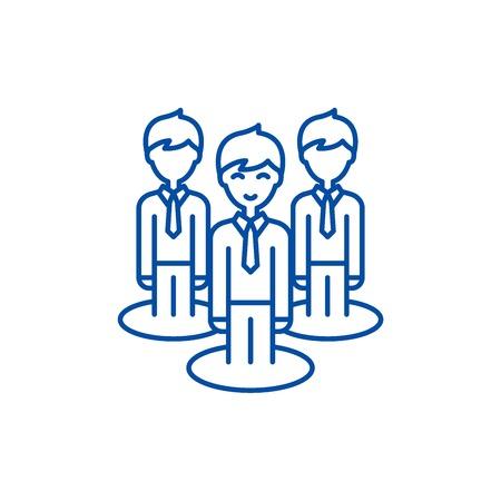 Remote office team line concept icon. Remote office team flat  vector website sign, outline symbol, illustration. Illustration