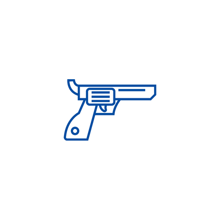 Revolver,gun,cowboy line concept icon. Revolver,gun,cowboy flat  vector website sign, outline symbol, illustration. Banque d'images - 120021919