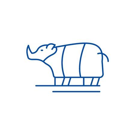 Rhinoceros line concept icon. Rhinoceros flat  vector website sign, outline symbol, illustration.