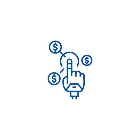Robot hand, future finance line concept icon. Robot hand, future finance flat  vector website sign, outline symbol, illustration. Illustration