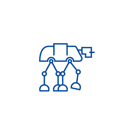 Robot warior, armored transport  line concept icon. Robot warior, armored transport  flat  vector website sign, outline symbol, illustration.