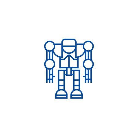 Robot,droid line concept icon. Robot,droid flat  vector website sign, outline symbol, illustration.