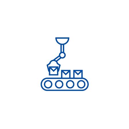 Robotic line line concept icon. Robotic line flat  vector website sign, outline symbol, illustration.