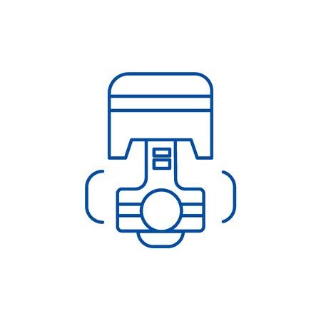Repair car engine, piston line concept icon. Repair car engine, piston flat  vector website sign, outline symbol, illustration. Illustration