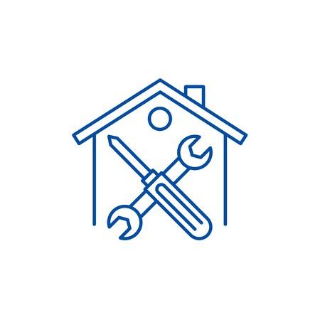Repairs line concept icon. Repairs flat  vector website sign, outline symbol, illustration.