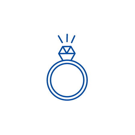 Ring with diamond line concept icon. Ring with diamond flat  vector website sign, outline symbol, illustration.