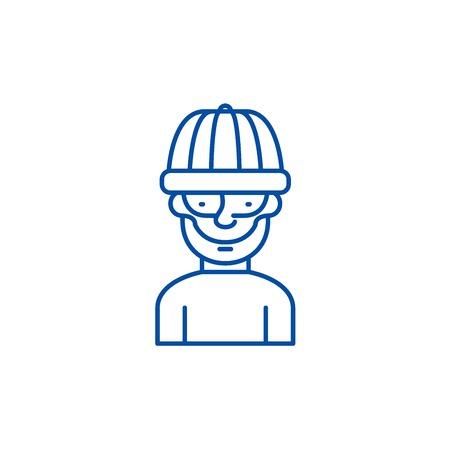 Robber line concept icon. Robber flat  vector website sign, outline symbol, illustration.