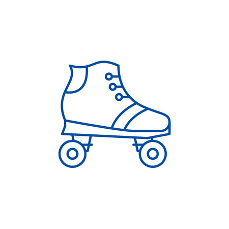 Roller skates line concept icon. Roller skates flat  vector website sign, outline symbol, illustration.