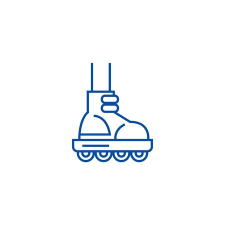 Roller skating line concept icon. Roller skating flat  vector website sign, outline symbol, illustration.