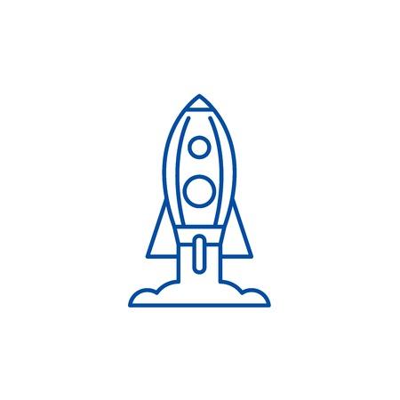 Rocket launch line concept icon. Rocket launch flat  vector website sign, outline symbol, illustration. Illusztráció