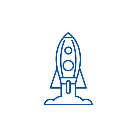 Rocket launch line concept icon. Rocket launch flat  vector website sign, outline symbol, illustration. Illustration