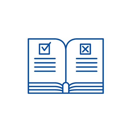 Rules line concept icon. Rules flat  vector website sign, outline symbol, illustration. Illustration
