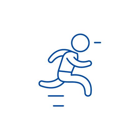 Run line concept icon. Run flat  vector website sign, outline symbol, illustration.