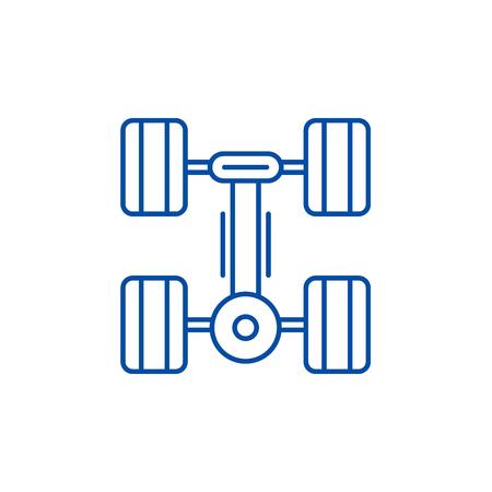 Running gear line concept icon. Running gear flat vector website sign, outline symbol, illustration. Vecteurs