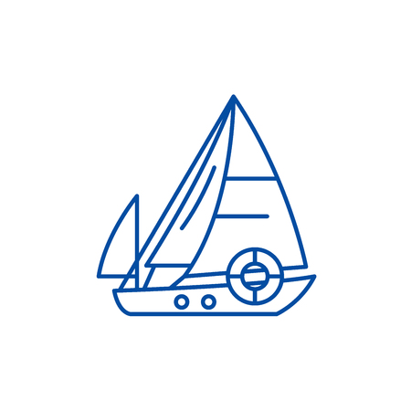 Sailboat line concept icon. Sailboat flat  vector website sign, outline symbol, illustration. Ilustracja