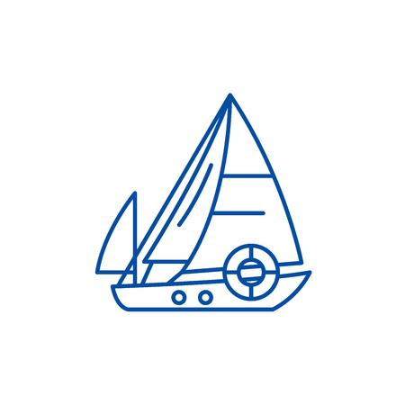 Sailboat line concept icon. Sailboat flat  vector website sign, outline symbol, illustration. Illustration