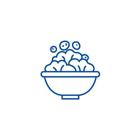 Salad bowl line concept icon. Salad bowl flat  vector website sign, outline symbol, illustration.