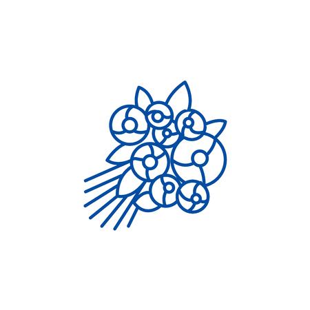 Rose bouquet line concept icon. Rose bouquet flat  vector website sign, outline symbol, illustration. Illustration
