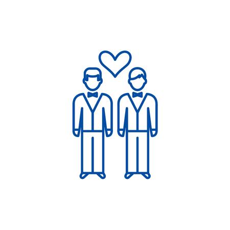 Same sex marriage line concept icon. Same sex marriage flat  vector website sign, outline symbol, illustration. Ilustração