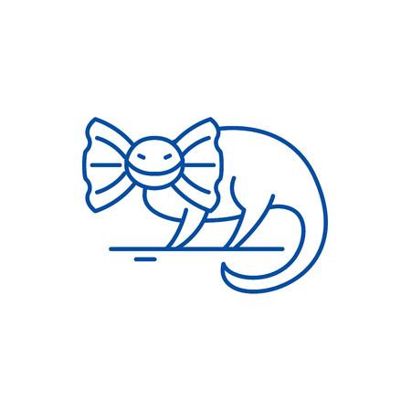 Reptile line concept icon. Reptile flat  vector website sign, outline symbol, illustration. Archivio Fotografico - 120116833