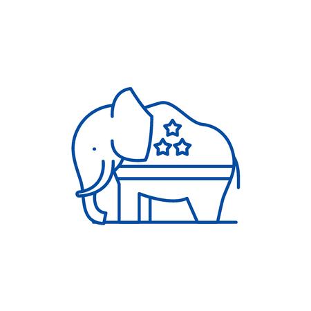Republican elephant line concept icon. Republican elephant flat vector website sign, outline symbol, illustration.