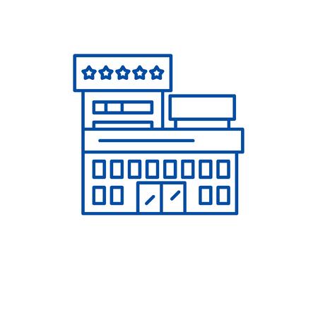 Resort hotel line concept icon. Resort hotel flat vector website sign, outline symbol, illustration.