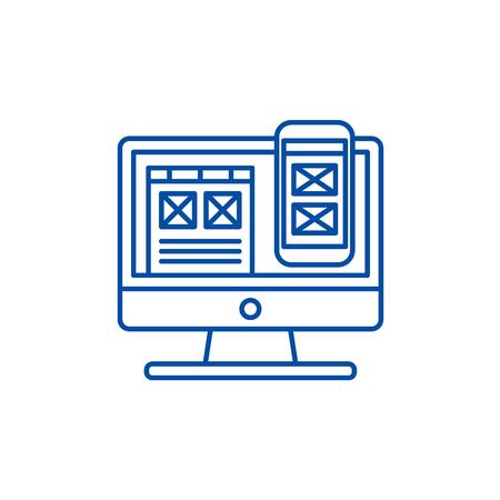 Responsive app design line concept icon. Responsive app design flat vector website sign, outline symbol, illustration.