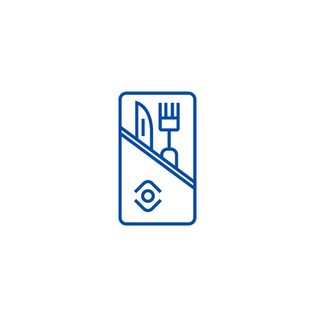Restaurant service,knife and fork line concept icon. Restaurant service,knife and fork flat  vector website sign, outline symbol, illustration.