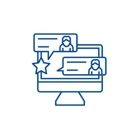Reviews line concept icon. Reviews flat  vector website sign, outline symbol, illustration. Archivio Fotografico - 120022230