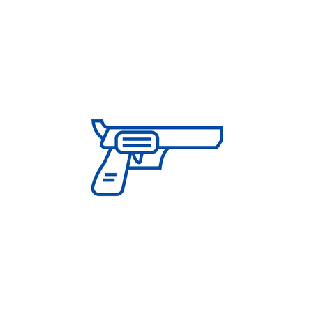 Revolver, pistol line concept icon. Revolver, pistol flat  vector website sign, outline symbol, illustration. Ilustração