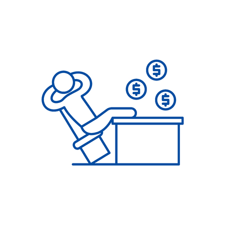 Rich manager line concept icon. Rich manager flat  vector website sign, outline symbol, illustration.