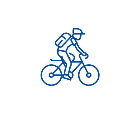 Riding bicycle line concept icon. Riding bicycle flat vector website sign, outline symbol, illustration.