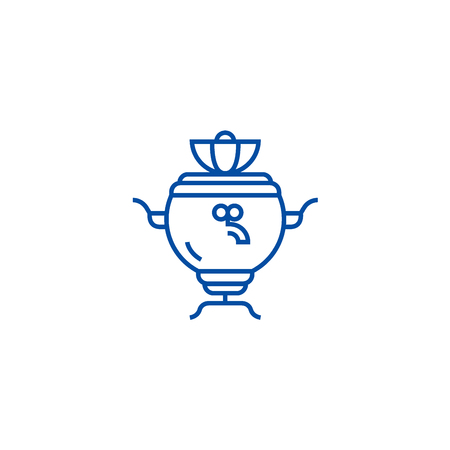 Samovar line concept icon. Samovar flat  vector website sign, outline symbol, illustration.