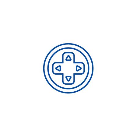 Round joystick  line concept icon. Round joystick  flat  vector website sign, outline symbol, illustration. Illusztráció