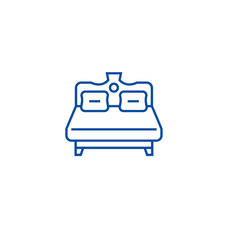 Royal double bed line concept icon. Royal double bed flat  vector website sign, outline symbol, illustration. Illustration