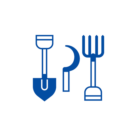Rural tools,shovel, hayfork, reaping hook line concept icon. Rural tools,shovel, hayfork, reaping hook flat  vector website sign, outline symbol, illustration.