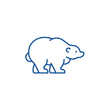 Russian bear line concept icon. Russian bear flat  vector website sign, outline symbol, illustration.