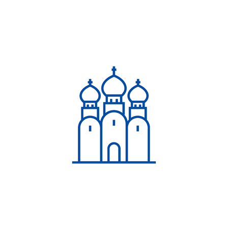 Russian orthodox church line concept icon. Russian orthodox church flat  vector website sign, outline symbol, illustration.