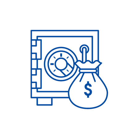 Safe bank with money bag line concept icon. Safe bank with money bag flat  vector website sign, outline symbol, illustration. Иллюстрация