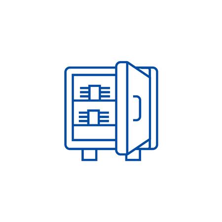 Safe with banknotes line concept icon. Safe with banknotes flat  vector website sign, outline symbol, illustration. Foto de archivo - 120074846