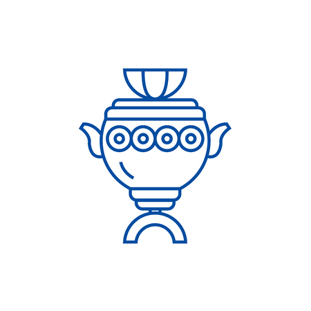 Samovar sign line concept icon. Samovar sign flat  vector website sign, outline symbol, illustration.