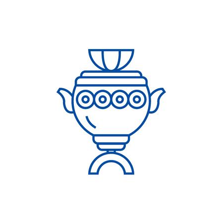 Samowar Zeichen Symbol Leitung Konzept. Samowar-Zeichen flaches Vektor-Website-Zeichen, Umrisssymbol, Illustration. Vektorgrafik